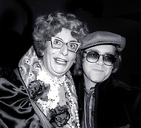 1978 FILE PHOTO<br /> New York City<br /> Dame Edna (Barry Humphries) & Elton John <br /> at Studio 54<br /> Photo by Adam Scull-PHOTOlink.net