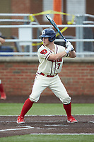 Mitchell Garrity (7) of the Dayton Flyers at bat against the Campbell Camels at Jim Perry Stadium on February 28, 2021 in Buies Creek, North Carolina. The Camels defeated the Flyers 11-2. (Brian Westerholt/Four Seam Images)