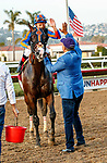 """DEL MAR, CA  AUGUST 28 :  #1 Ginobili, ridden by Drayden Van Dyke, receive congratulations from trainer Richard Baltas   after winning the Pat O'Brien Stakes (Grade ll) Breeders Cup """"Win and You're In"""" Dirt Mile Division on August 28, 2021 at Del Mar Thoroughbred Club in Del Mar, CA.(Photo by Casey Phillips/Eclipse Sportswire/CSM)"""
