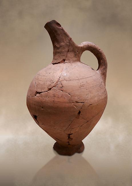 Hittite terra cotta beak spout pitcher . Hittite Period, 1600 - 1200 BC.  Hattusa Boğazkale. Çorum Archaeological Museum, Corum, Turkey. Against a warm art bacground.