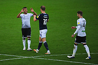 Korey Smith of Swansea City shakes hands with Matt Smith of Millwall at full time during the Sky Bet Championship match between Swansea City and Millwall at the Liberty Stadium in Swansea, Wales, UK. Saturday 03 October 2020