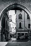 View through the arches of Fish market  Mercato del Pesce, Calle de le Becarie o Panataria, Venice, Italy