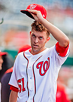 26 September 2018: Washington Nationals pitcher Kyle McGowin in dugout prior to a game against the Miami Marlins at Nationals Park in Washington, DC. The Nationals defeated the visiting Marlins 9-3, closing out Washington's 2018 home season. Mandatory Credit: Ed Wolfstein Photo *** RAW (NEF) Image File Available ***