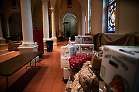 NEW YORK, NY - NOVEMBER 23:  food is stored inside a church to be distribute during a pantry food as the global outbreak of the coronavirus disease (COVID-19) continues increase on November 23, 2020 in New York. Novel coronavirus have surpassed 12.5 million with more than 262,000 deaths in U.S. given a mortality rate of  3.5%. (Photo by Eduardo MunozAlvarez/VIEWpress)