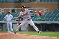 Salt River Rafters pitcher Yoan Lopez (32) delivers a pitch during an Arizona Fall League game against the Surprise Saguaros on October 20, 2015 at Salt River Fields at Talking Stick in Scottsdale, Arizona.  Surprise defeated Salt River 3-1.  (Mike Janes/Four Seam Images)