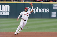 Arkansas infielder Jalen Battles (4) catches, Monday, June 7, 2021 in the fifth inning of the NCAA Fayetteville Regional at Baum-Walker Stadium in Fayetteville. Check out nwaonline.com/210608Daily/ for today's photo gallery. <br /> (NWA Democrat-Gazette/Charlie Kaijo)