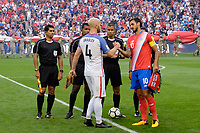 Harrison, NJ - Friday Sept. 01, 2017: Michael Bradley, Bryan Ruiz prior to a 2017 FIFA World Cup Qualifier between the United States (USA) and Costa Rica (CRC) at Red Bull Arena.