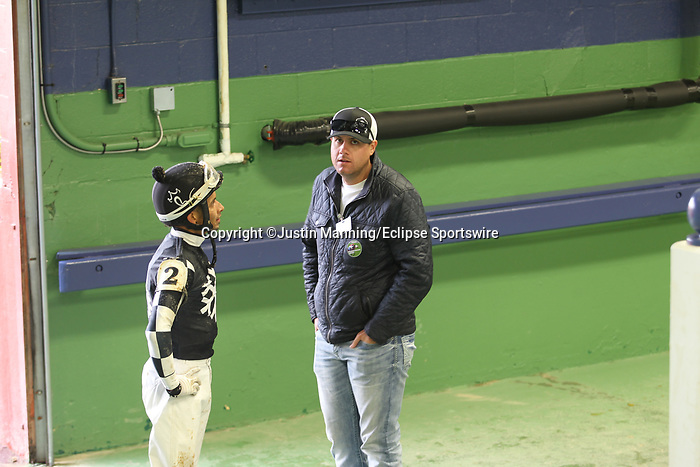 March 14, 2020: Jockey Ramon Vazquez talking with owner Staton Flurry after the 5th race at Oaklawn Racing Casino Resort in Hot Springs, Arkansas. ©Justin Manning/Eclipse Sportswire/CSM
