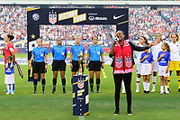 PHILADELPHIA, PA - AUGUST 29: National anthem singer prior to a game between Portugal and USWNT at Lincoln Financial Field on August 29, 2019 in Philadelphia, PA.