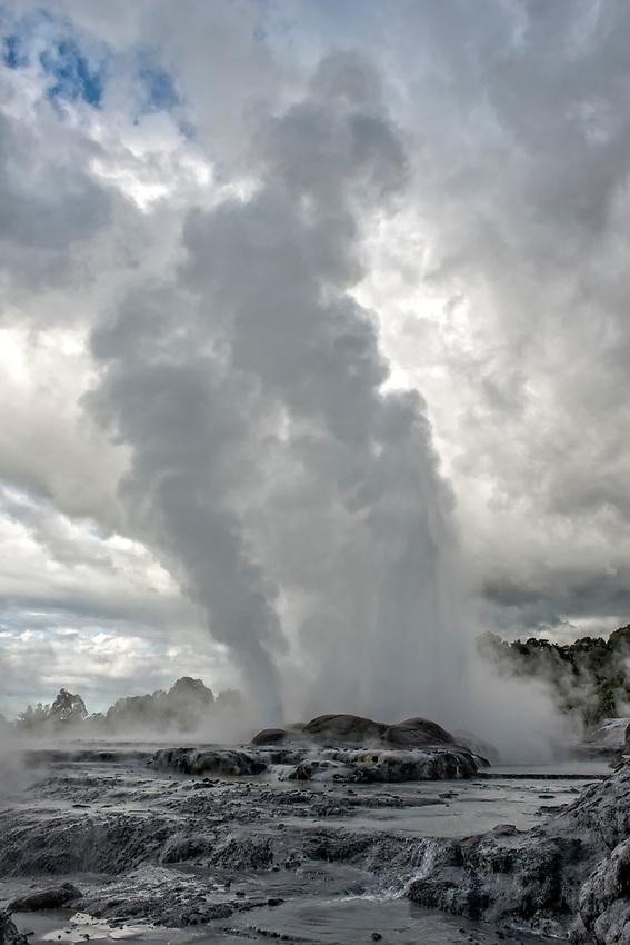 The Pohutu Geyser is located in the Whakarewarewa Thermal Valley at Te Puia, Rotorua, north island, New Zealand. The Pohutu Geyser is the largest geyser in the southern hemisphere.