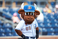 Durham Bulls mascot Wool E. Bull poses for a photo prior to the game against the Columbus Clippers at Durham Bulls Athletic Park on June 1, 2019 in Durham, North Carolina. The Bulls defeated the Clippers 11-5 in game one of a doubleheader. (Brian Westerholt/Four Seam Images)