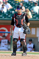 Lansing Lugnuts catcher Daniel Klein (8) during a game against the Dayton Dragons on August 25, 2013 at Cooley Law School Stadium in Lansing, Michigan.  Dayton defeated Lansing 5-4 in 11 innings.  (Mike Janes/Four Seam Images)