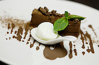Dessert of crispy hazlenut chocolate served with yoghurt ice-cream at L'Armoise restaurant, Antibes, France, 07 April 2012