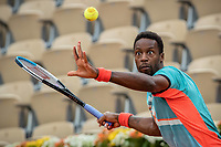 28th September 2020, Roland Garros, Paris, France; French Open tennis, Roland Garros 2020;  Gael Monfils returns a shot during the mens singles first round match