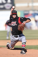 Adam Cimber #27 of the Lake Elsinore Storm pitches against the Lancaster JetHawks at The Hanger on April 6, 2014 in Lancaster, California. Lancaster defeated Lake Elsinore, 7-4. (Larry Goren/Four Seam Images)