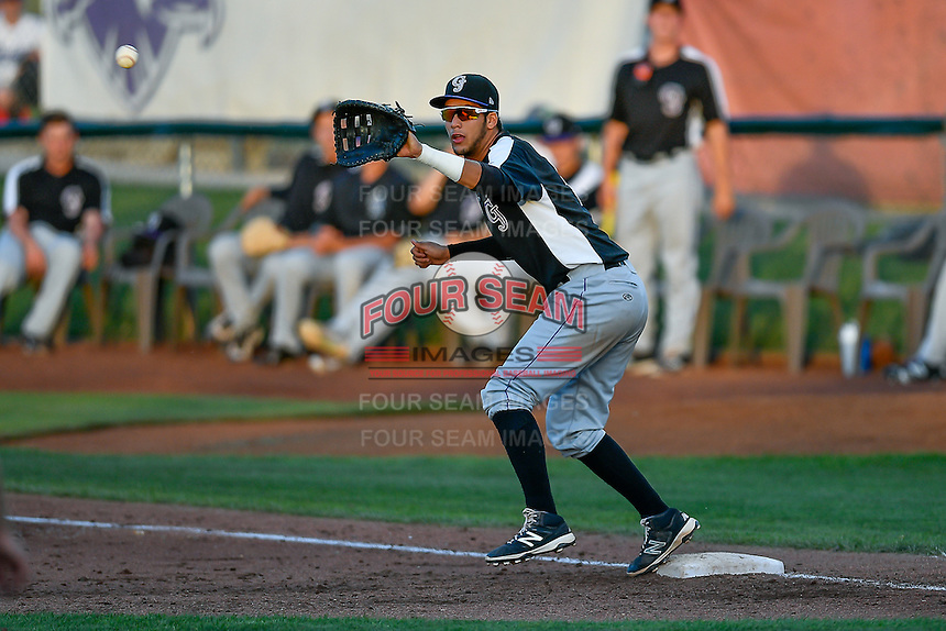 Joel Diaz (5) of the Grand Junction Rockies on defense against the Ogden Raptors in Pioneer League action at Lindquist Field on June 20, 2016 in Ogden, Utah. The Rockies defeated the Raptors 5-2. (Stephen Smith/Four Seam Images)