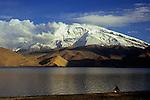 Muztagh Ata (7546m) and Lake Karakol at sunset, Xinjiang, China, 2007