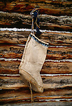Boots made of caribou hide, Arctic village, Alaska