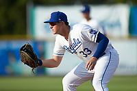 Burlington Royals first baseman Vinnie Pasquantino (33) on defense against the Danville Braves at Burlington Athletic Stadium on July 13, 2019 in Burlington, North Carolina. The Royals defeated the Braves 5-2. (Brian Westerholt/Four Seam Images)