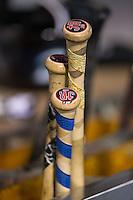 The bats of James Ramsey (not pictured) of the Columbus Clippers sit in the bat rack during the game against the Charlotte Knights at BB&T BallPark on May 27, 2015 in Charlotte, North Carolina.  The Clippers defeated the Knights 9-3.  (Brian Westerholt/Four Seam Images)