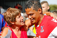 John Salako speak to fans after the Friendly match between Barnet and Crystal Palace at The Hive, London, England on 11 July 2015. Photo by David Horn.