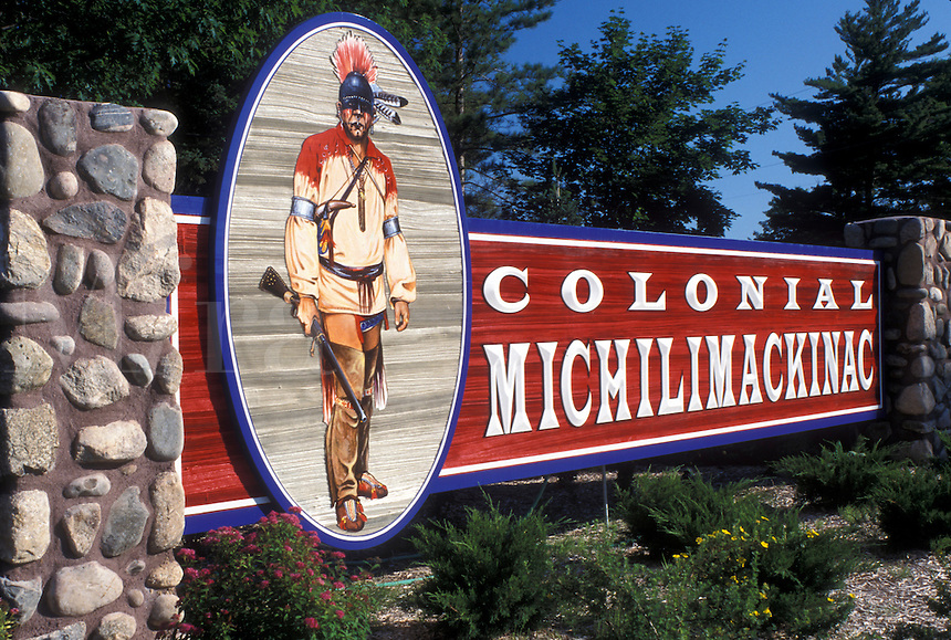 Mackinaw City, MI, Michigan, Entrance sign to Colonial Michilimackinac on the site of Fort Michilimackinac in Mackinaw City.