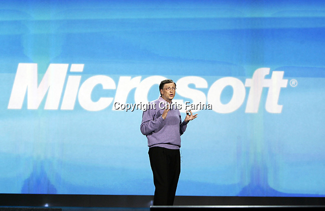 1/6/08,Las Vegas,Nevada  ---  Chairman for Microsoft Corporation Bill Gates delivers his opening keynote address for the 2008 International Consumer Electronics Show (CES) at the Venetian Resort in Las Vegas. This will be Gates final keynote after twelve years. --- Chris Farina