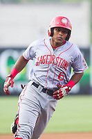 Wilmer Difo (6) of the Hagerstown Suns rounds third base after having hit a 3-run home run against the Greensboro Grasshoppers at NewBridge Bank Park on May 20, 2014 in Greensboro, North Carolina.  The Grasshoppers defeated the Suns 5-4. (Brian Westerholt/Four Seam Images)