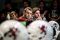 UK. Birmingham. 27th  October 2015<br /> The Birmingham Lions football team at a classroom training session.<br /> Andrew Testa for  the New York Times