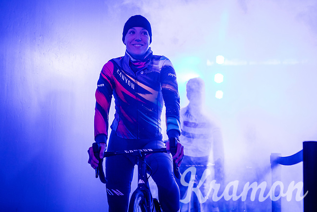 Canyon//Sram racing team rider ready for the pre race team presentation in the infamous Kuipke velodrome. <br /> <br /> <br /> 12th Women's Omloop Het Nieuwsblad 2020 (BEL)<br /> Women's Elite Race <br /> Gent – Ninove: 123km<br /> <br /> ©kramon