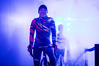 Canyon//Sram racing team rider ready for the pre race team presentation in the infamous Kuipke velodrome. <br /> <br /> <br /> 12th Women's Omloop Het Nieuwsblad 2020 (BEL)<br /> Women's Elite Race <br /> Gent – Ninove: 123km<br /> <br /> ©kramon
