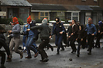 Hooded Catholic youths riot Belfast Northern Ireland 1981 Probably taken in Etna Drive, Ardoyne north Belfast.