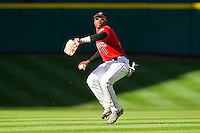 Center fielder Barrett Barnes #8 of the Texas Tech Red Raiders throws the ball back to the infield during the game against the Houston Cougars at Minute Maid Park on March 4, 2012 in Houston, Texas.  The Red Raiders defeated the Cougars 10-4.  Brian Westerholt / Four Seam Images