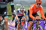 Matteo Trentin (ITA) CCC Team and Mads Pedersen (DEN) Trek-Segafredo on the final ascent of the Paterberg during the Tour of Flanders 2020 running 244km from Antwerp to Oudenaarde, Belgium. 18th October 2020.  <br /> Picture: Serge Waldbillig   Cyclefile<br /> <br /> All photos usage must carry mandatory copyright credit (© Cyclefile   Serge Waldbillig)