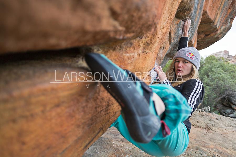 Shauna Coxsey climbs in Rocklands, South Africa