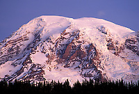 Sunrise on Mount Rainier above tree line, from Reflection Lakes, Mount Rainier National Park, Lewis County, W