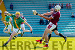 Daniel Collins, Kilmoyley in action against Jason Diggins, Causeway during the Kerry County Senior Hurling Championship Final match between Kilmoyley and Causeway at Austin Stack Park in Tralee