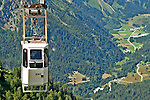 View of the Bregaglia Valley in Switzerland and the funicular that takes you to the Albigna dam, one of over 150 dams in the country; The Albigna dam sits at 2,163 meters elevation