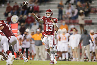 Arkansas quarterback Feleipe Franks (13) throws a pass, Saturday, November 7, 2020 during the second quarter of a football game at Donald W. Reynolds Razorback Stadium in Fayetteville. Check out nwaonline.com/201108Daily/ for today's photo gallery. <br /> (NWA Democrat-Gazette/Charlie Kaijo)