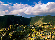 Clouds over West Bond (left) and Mount Bond (right) from Bondcliff in the Pemigewasset Wilderness in the New Hampshire White Mountains. Bondcliff, Mount Bond, and West Bond were named in 1876 for Professor G.P. Bond of Harvard University.