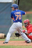 New York Mets first baseman Jonathan Leroux (70) during a minor league spring training game against the St. Louis Cardinals on March 27, 2014 at the Port St. Lucie Training Complex in Port St. Lucie, Florida.  (Mike Janes/Four Seam Images)