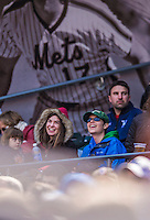 21 April 2013: YU student Shana Wolfstein (left) and VCS student Josh Wolfstein take in a game between the New York Mets and the Washington Nationals at Citi Field in Flushing, NY. The Mets shut out the visiting Nationals 2-0, taking the rubber match of their 3-game weekend series. Mandatory Credit: Ed Wolfstein Photo *** RAW (NEF) Image File Available ***