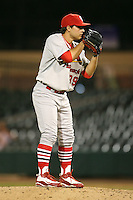 April 13, 2009:  Pitcher Richard Castillo of the Palm Beach Cardinals, Florida State League Class-A affiliate of the St. Louis Cardinals, delivers a pitch during a game at Hammond Stadium in Fort Myers, FL.  Photo by:  Mike Janes/Four Seam Images