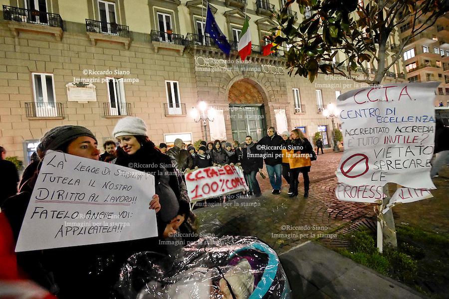 - NAPOLI 10 FEB - C.C.T.A. - Centro Campano Tecnologie E Ambiente,  sit-in lavoratori Bagnolifutura  fuori palazzo San Giacomo  sede del Municipio di Napoli