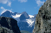 Summits of the Barre des Ecrins and La Meije mountains in the French Alps, France.