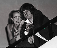 Jagger Hall6708.JPG<br /> New York, NY 1978 FILE PHOTO<br /> Mick Jagger Jerry Hall<br /> Studio 54<br /> Digital photo by Adam Scull-PHOTOlink.net<br /> ONE TIME REPRODUCTION RIGHTS ONLY<br /> NO WEBSITE USE WITHOUT AGREEMENT<br /> 718-487-4334-OFFICE  718-374-3733-FAX