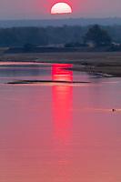 africa, Zambia, South Luangwa National Park,  Luwanga river sunset