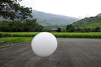 Switzerland, Wallis, artificial air bubble from bubble machine