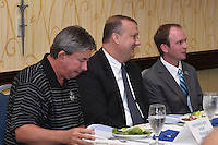 Asheville Tourists team chaplin Brent Besosa, South Atlantic League President Eric Krupa and Asheville Tourists president Brian DeWine during All-Star Luncheon on June 23, 2015 in Asheville, North Carolina. (Tony Farlow/Four Seam Images)