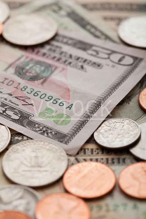 USA, Illinois, Metamora, Studio shot of American banknotes and coins